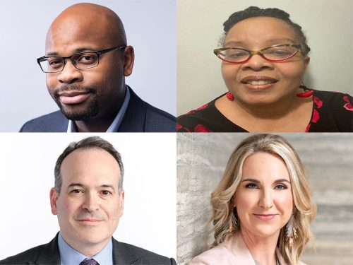 Headshots of four new Medill Board of Advisers members.