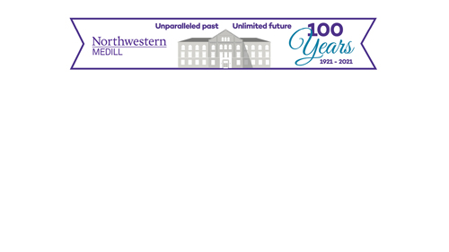 Medill Centennial logo across the top of a white background