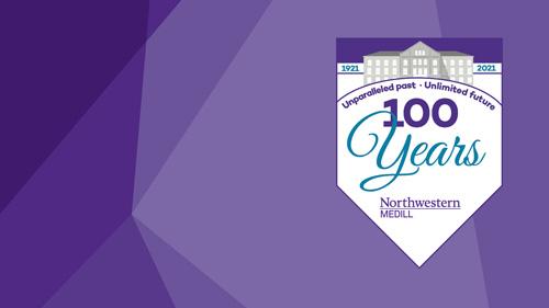 Medill Centennial logo on top of a purple background.