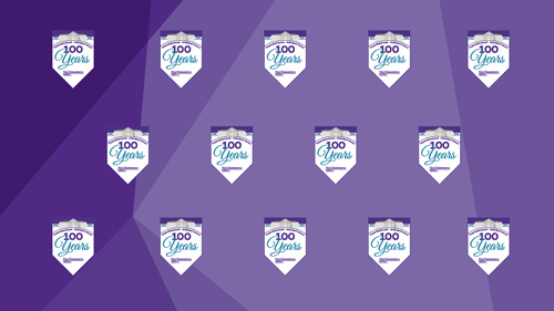 Medill Centennial logo repeated several times on a purple background.