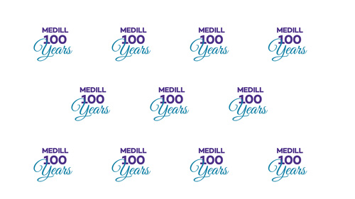 Medill 100 Years logo repeated several times on a white background.