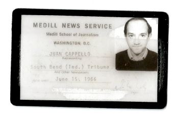 Juan C. Cappello Medill News Service badge from when he was a student.